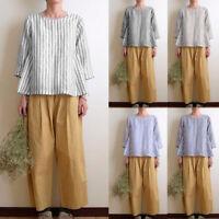 Women Summer 3/4 Sleeve Top Tee Shirt Plus Size Office Work Ladies Cotton Blouse