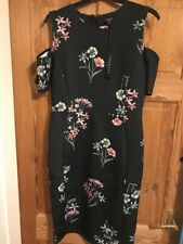 Beautiful Therapy London COLD SHOULDER Dress Black with floral print Size 10