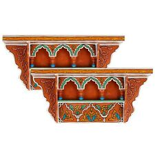 SET OF 2 - Rustic Floating Shelves Orange, Wall Shelves Floating Bathroom