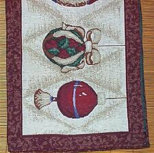 Christmas Tapestry 4 Place Mats Holiday Tabel Decor Kitchen Bulbs  #18
