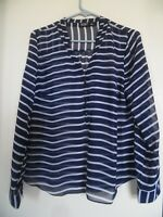 ANA Navy Blue White Striped Sheer 3/4 Sleeve Top Shirt Blouse Size PL