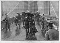 BROOKLYN BRIDGE PEDESTRIAN TRAFFIC EAST RIVER SUSPENSION BRIDGE 1887 NEW YORK