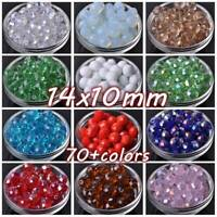 10pcs Large 14mm(14x10mm) Rondelle Faceted Crystal Glass Loose Beads DIY Jewelry
