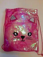 Cat DRAWSTRING BACKPACK STRING BACKPACK Sequins BAG BIRTHDAY GIFT CINCH