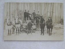 c684 postcard RPPC Early Lumberjacks horse team logging outfit Northern Michigan
