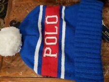 POLO RALPH LAUREN MEN'S BLUE-RED-WHITE POM POM BEANIE HAT ONE-SIZE NEW