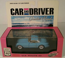Car & Driver 1955 Baby Blue Corvette 1:43 Scale Diecast Collectable Car Route 40