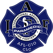 """4"""" IAFF Decal Paramedic Blue and White Trim Ext. Mount Please Read Auction"""