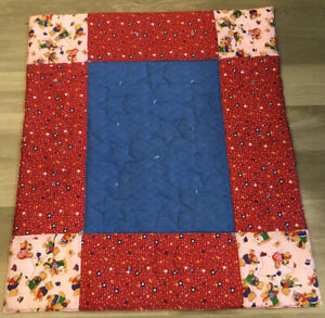 Patchwork Small Crib Quilt, Rectangles & Squares, Star & Teddy Bear Prints, Blue