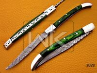 Custom Handmade Damascus Steel Folding Knife,Green Color Wood Handle & Sheath