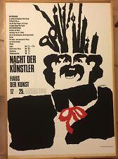 POP ART POSTER PLAKAT  FASCHING MÜNCHEN 1969 NACHT DER KÜNSTLER EICHBERGER