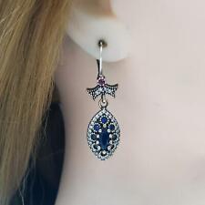 Deco 3.10ctw Sapphire, Ruby & Diamond Cut Sapphire 14K Yellow Gold 925 Earrings