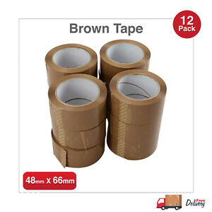12 Rolls Buff Brown Packaging Parcel Packing Long Length Tape Strong 48mm x 66m