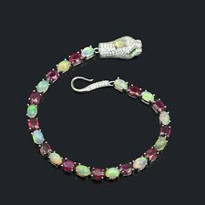 6x4 mm Oval Natural Ruby & Fire Opal Gemstone 925 Sterling Silver Cobra Bracelet