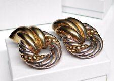 """Huge 2"""" Vtg Sterling Silver Puffy Twisted Wreath Pierced Earrings 35.2g"""