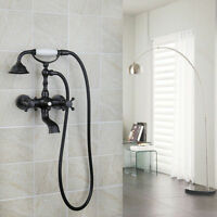 Oil Rubbed Bronze Wall Mount Clawfoot Bath Tub Faucet with Hand Shower Mixer Tap