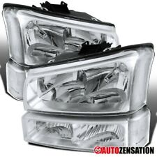 For 2003-2006 Chevy Silverado Avalanche Clear Headlights+Bumper Signal Lamps