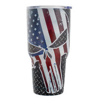 BonBon 30 Ounce Travel Mug Stainless Steel Cup with Lid (Patriotic Skull)