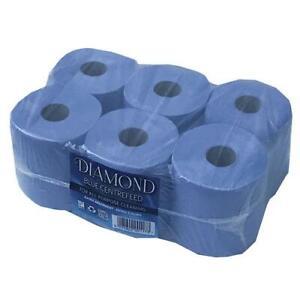6 Azul Rollo 2 Capas Tejido Cocina Rollo centrefeed Limpiador de Limpieza Toalla De Papel
