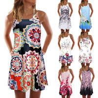 Women Summer Sleeveless Round Neck Vintage Boho Beach Printed Short Mini Dress P
