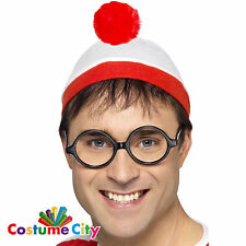 Official Wheres Waldo Hat & Glasses Instant Fancy Dress Costume Accessory Kit