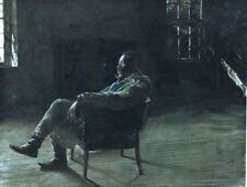 "Black Americana Print, Black Man in Chair 15"" x 11.5"" Framed"