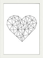 GEOMETRIC MONOCHROME MODERN HEART PRINT PICTURE POSTER WALL ART