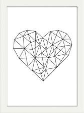 GEOMETRIC MONOCHROME MODERN HEART PRINT PICTURE POSTER WALL ART