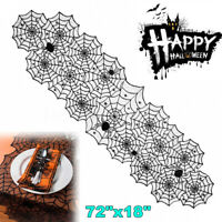 Black Lace Spider Web Halloween Table Runner Creepy Cover Party Decoration Props