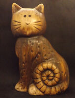 Brown Cat, Striped Tail Statue, Ceramic Figurine looks Stressed Wood 8 1/2""
