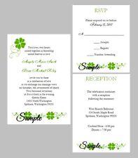 100 Personalized Custom Irish Shamrock Clover Wedding Invitations Set RSVP Cards