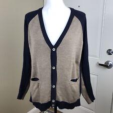 MM6 Maison Martin Margiela Sz Medium Navy Blue Tan Colorblock Cardigan Sweater
