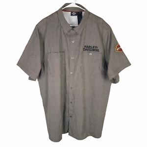 Harley Davidson Button Shirt Mens 3XL Brown Cotton Blend S/S Logo Vented Genuine