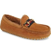 100% Auth New Men Gucci Kayne Shearling Driving Moccasin Driver Uk 7.5/Us 8.5