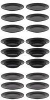 6x BLACK ATENA round DINNER PLATES DESSERT SOUP SALAD PASTA
