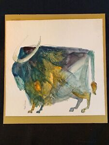 Original Modern Abstract Buffalo Watercolor Painting Signed by PAT SAN SOUCIE