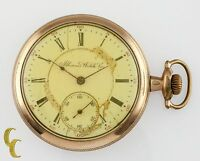 Gold Filled Illinois Watch Co Antique Open Face Pocket Watch Gr 184 16S 17J