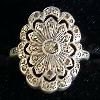 Sterling silver & marcasite vintage Art Deco antique ring - size M 1/2