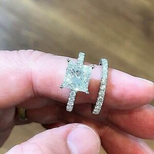2ct Princes Cut Diamond ring set. 925 Silver. Size USA 8, UK P. Free pouch. New.