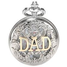 Silver Case Vintage Dad Pattern Roman White Dial Men Pocket Watch Gift + Box US