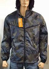 Midnight Camo Windbreaker Hooded Zipper Lightweight Jacket Outdoor Running Coat