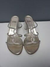 STUART WEITZMAN Gold Embellished Open Toe Slideum Dressy Sandals Sz 8.5 B4200