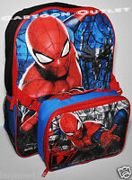 "SPIDERMAN SCHOOL BACKPACK 16"" AND LUNCH BAG SET INSULATED MARVEL NWT BOYS"