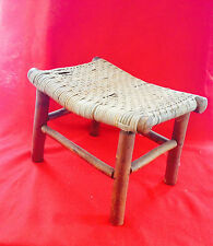Vintage Primitive Woven Saddle Stool