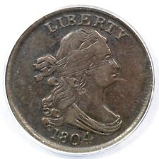 1804 C-7 R-4 ANACS EF 40 Details Spiked Chin Draped Bust Half Cent Coin 1/2c