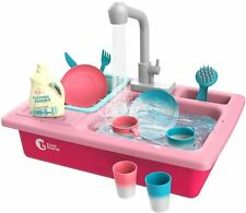 Pretend Kitchen Sink Play Set with Running Water Role Play Toys For Kids Girls