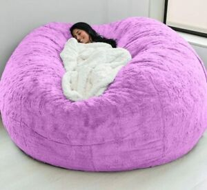 7ft Foam Giant Bean Bag Giant Fluffy Fur Bed Slipcover Case Floor Seat Couch BED