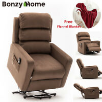 Electric Power Lift Recliner Chair Upgraded Moter Padded Cushions with Blanket