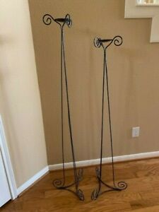 Tall Floor Candle Stands, Metal Scrollwork