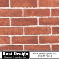 Handmade Orange Brick Slips, Wall Cladding, Feature Wall, Brick Tiles SAMPLE